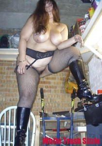 white trash stocking and boots bbw